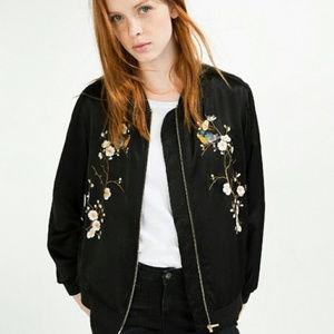 Zara Embroidered Black Satin Bird Bomber Jacket